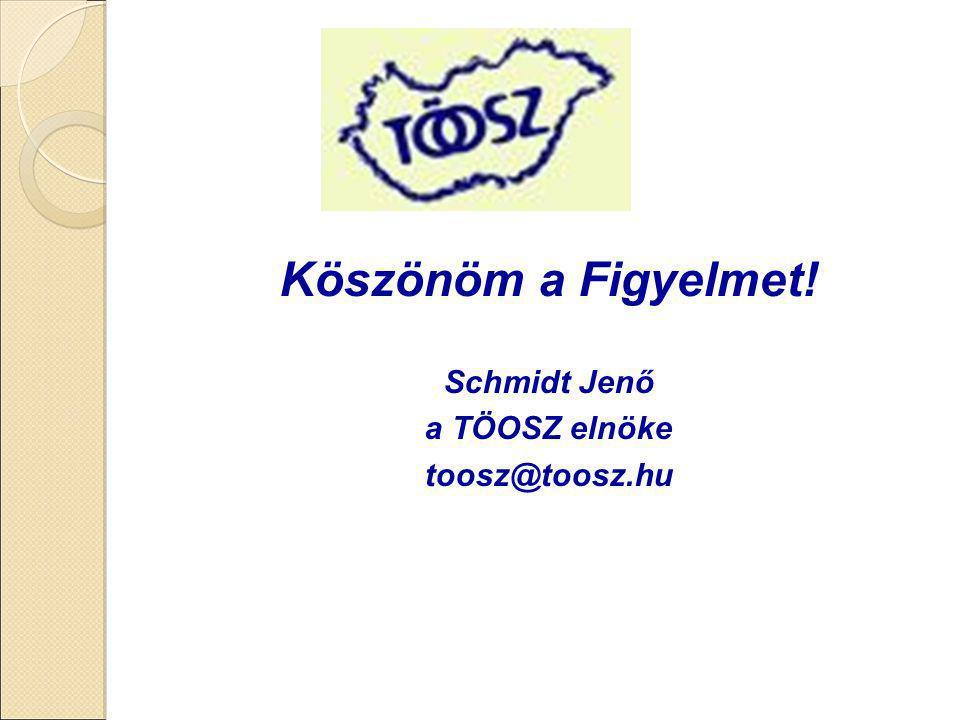Köszönöm a Figyelmet! Schmidt Jenő a TÖOSZ elnöke toosz@toosz.hu