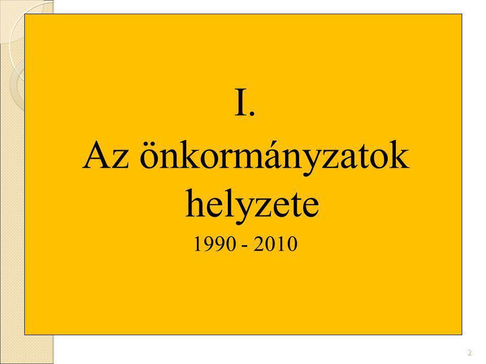 I. Az önkormányzatok helyzete 1990 - 2010 2