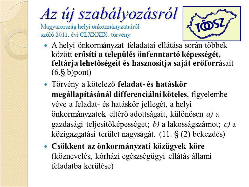 Az új szabályozásról Magyarország helyi önkormányzatairól szóló 2011.