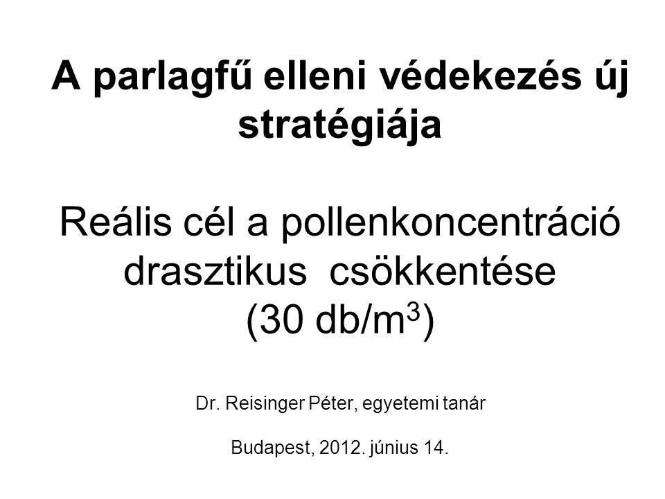 A parlagfű elleni védekezés új stratégiája Reális cél a pollenkoncentráció drasztikus csökkentése (30 db/m 3 ) Dr. Reisinger Péter, egyetemi tanár Bud