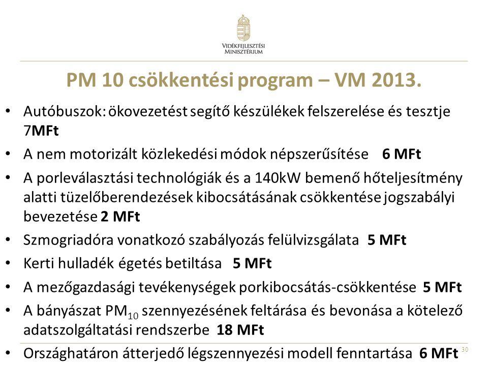 30 PM 10 csökkentési program – VM 2013. Autóbuszok: ökovezetést segítő készülékek felszerelése és tesztje 7MFt A nem motorizált közlekedési módok néps