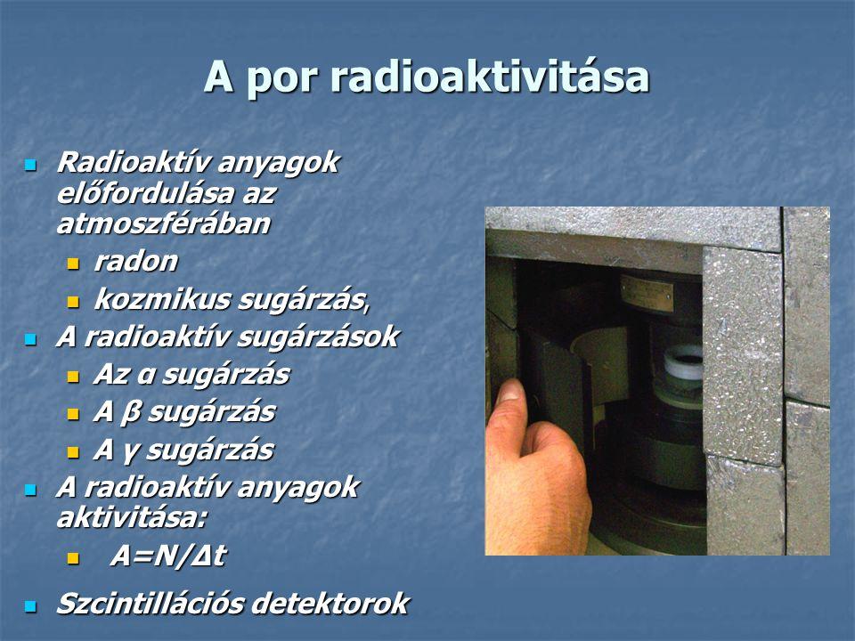 A por radioaktivitása Radioaktív anyagok előfordulása az atmoszférában Radioaktív anyagok előfordulása az atmoszférában radon radon kozmikus sugárzás, kozmikus sugárzás, A radioaktív sugárzások A radioaktív sugárzások Az α sugárzás Az α sugárzás A β sugárzás A β sugárzás A γ sugárzás A γ sugárzás A radioaktív anyagok aktivitása: A radioaktív anyagok aktivitása: A=Ν/Δt A=Ν/Δt Szcintillációs detektorok Szcintillációs detektorok