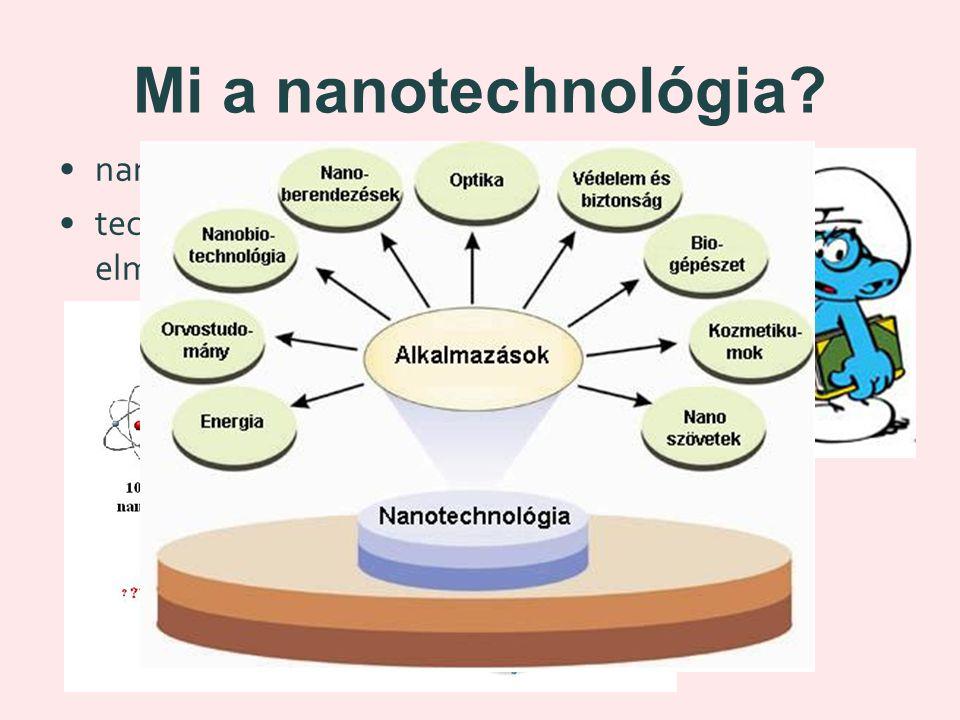 Mi a nanotechnológia? nanosz = törpe technológia = gyártási folyamat elmélete és gyakorlata