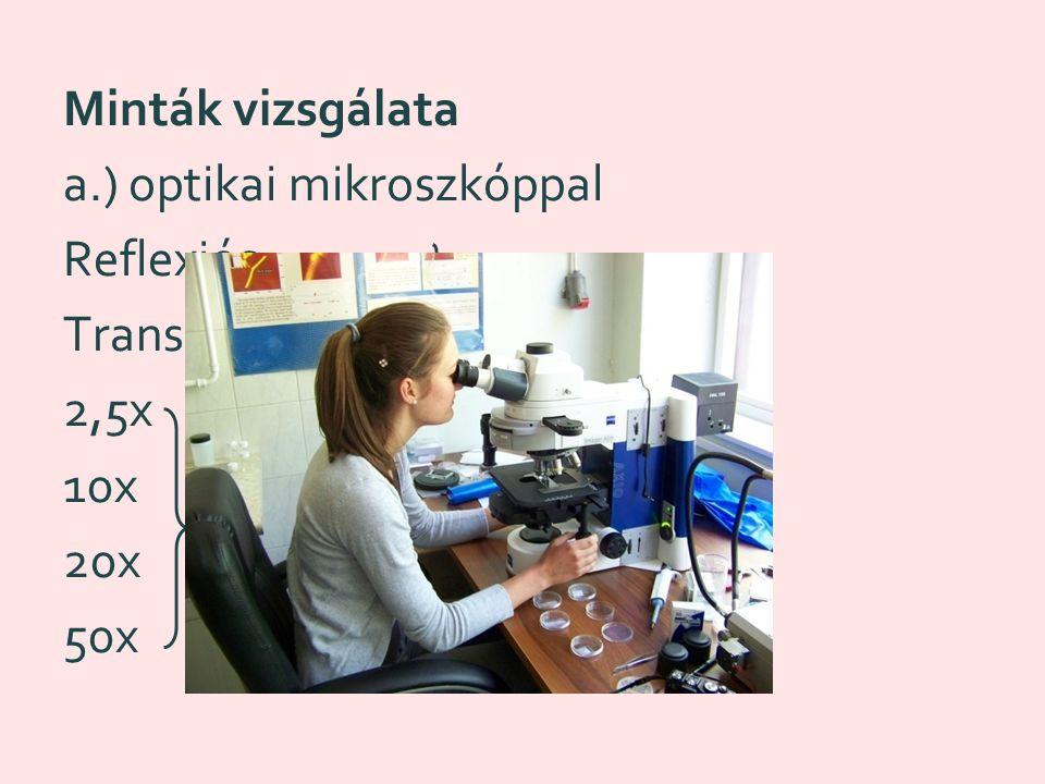 Minták vizsgálata a.) optikai mikroszkóppal Reflexiós Transzmissziós 2,5x 10x 20x 50x nagyítás képek