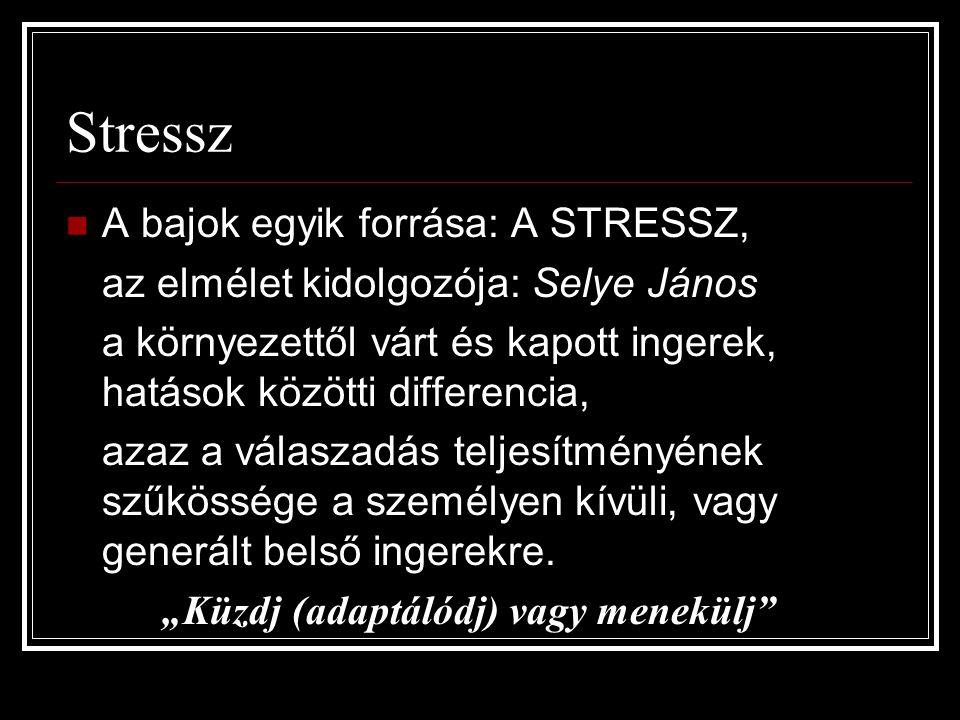 Stressz A bajok egyik forrása: A STRESSZ, az elmélet kidolgozója: Selye János a környezettől várt és kapott ingerek, hatások közötti differencia, azaz