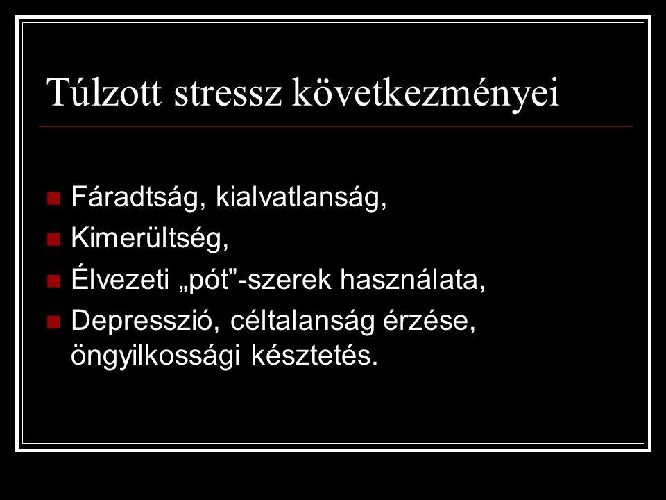 """Túlzott stressz következményei Fáradtság, kialvatlanság, Kimerültség, Élvezeti """"pót""""-szerek használata, Depresszió, céltalanság érzése, öngyilkossági"""