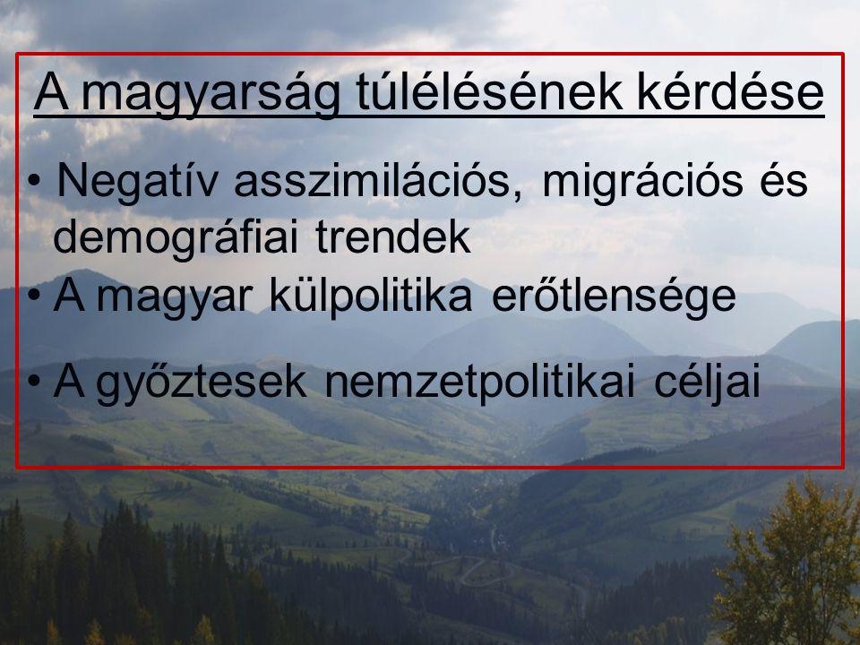A magyarság túlélésének kérdése Negatív asszimilációs, migrációs és demográfiai trendek A magyar külpolitika erőtlensége A győztesek nemzetpolitikai c