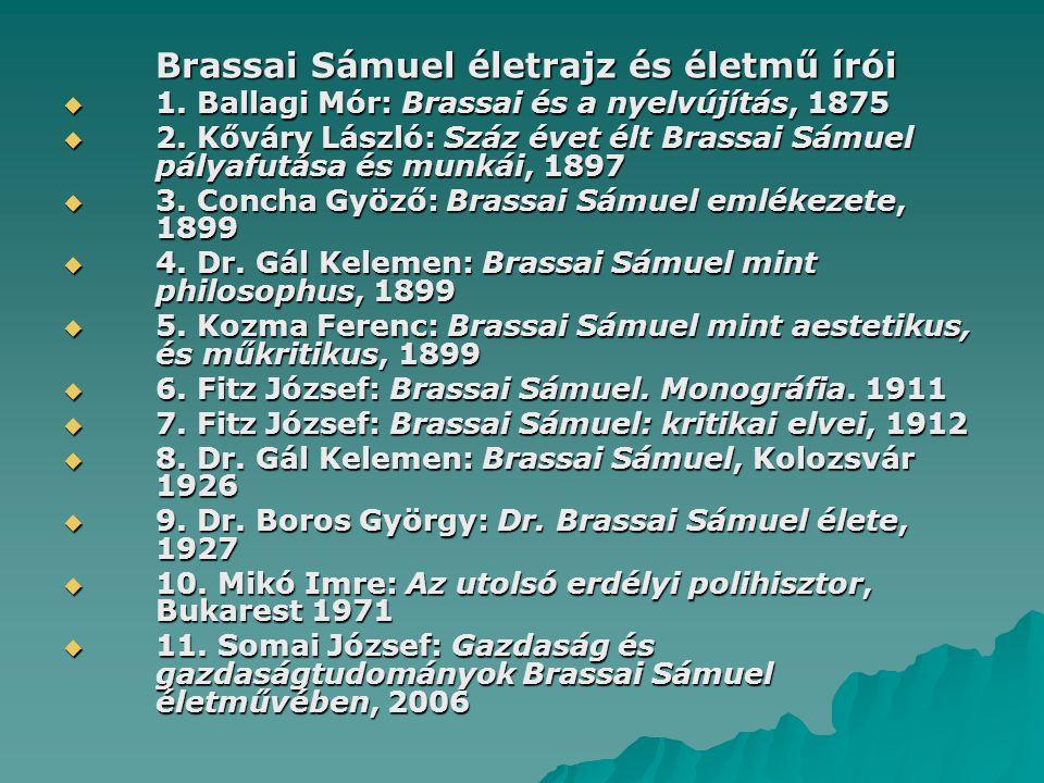 Brassai Sámuel életrajz és életmű írói  1. Ballagi Mór: Brassai és a nyelvújítás, 1875  2.