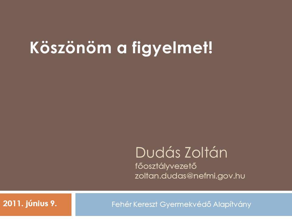 Dudás Zoltán főosztályvezető zoltan.dudas@nefmi.gov.hu Fehér Kereszt Gyermekvédő Alapítvány 2011. június 9. Köszönöm a figyelmet!