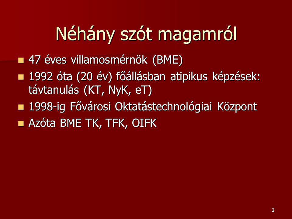 2 Néhány szót magamról 47 éves villamosmérnök (BME) 47 éves villamosmérnök (BME) 1992 óta (20 év) főállásban atipikus képzések: távtanulás (KT, NyK, eT) 1992 óta (20 év) főállásban atipikus képzések: távtanulás (KT, NyK, eT) 1998-ig Fővárosi Oktatástechnológiai Központ 1998-ig Fővárosi Oktatástechnológiai Központ Azóta BME TK, TFK, OIFK Azóta BME TK, TFK, OIFK