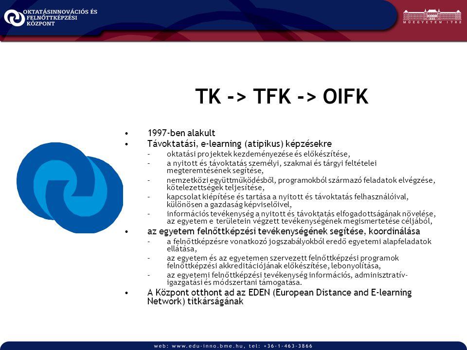 TK -> TFK -> OIFK 1997-ben alakult Távoktatási, e-learning (atipikus) képzésekre –oktatási projektek kezdeményezése és előkészítése, –a nyitott és távoktatás személyi, szakmai és tárgyi feltételei megteremtésének segítése, –nemzetközi együttműködésből, programokból származó feladatok elvégzése, kötelezettségek teljesítése, –kapcsolat kiépítése és tartása a nyitott és távoktatás felhasználóival, különösen a gazdaság képviselőivel, –információs tevékenység a nyitott és távoktatás elfogadottságának növelése, az egyetem e területein végzett tevékenységének megismertetése céljából, az egyetem felnőttképzési tevékenységének segítése, koordinálása –a felnőttképzésre vonatkozó jogszabályokból eredő egyetemi alapfeladatok ellátása, –az egyetem és az egyetemen szervezett felnőttképzési programok felnőttképzési akkreditációjának előkészítése, lebonyolítása, –az egyetemi felnőttképzési tevékenység információs, adminisztratív- igazgatási és módszertani támogatása.