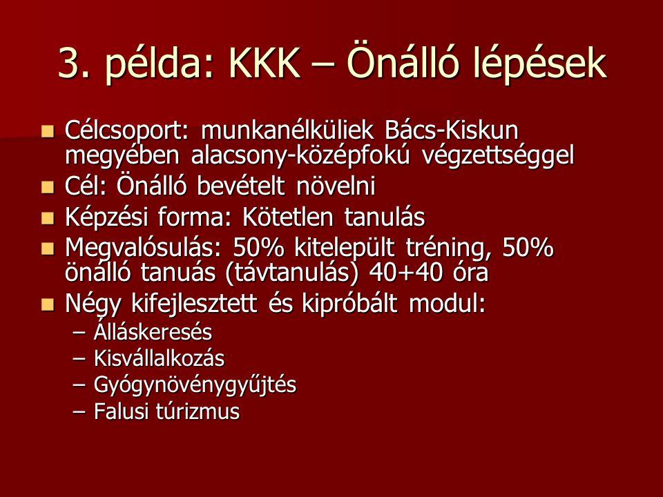 3. példa: KKK – Önálló lépések Célcsoport: munkanélküliek Bács-Kiskun megyében alacsony-középfokú végzettséggel Célcsoport: munkanélküliek Bács-Kiskun