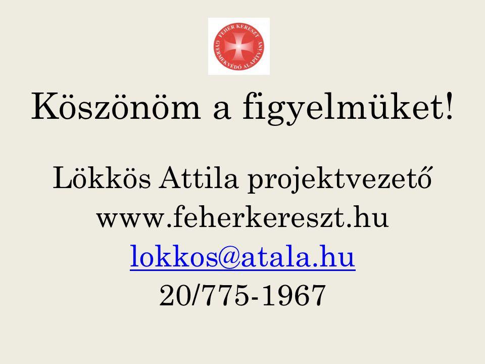 Köszönöm a figyelmüket! Lökkös Attila projektvezető www.feherkereszt.hu lokkos@atala.hu 20/775-1967