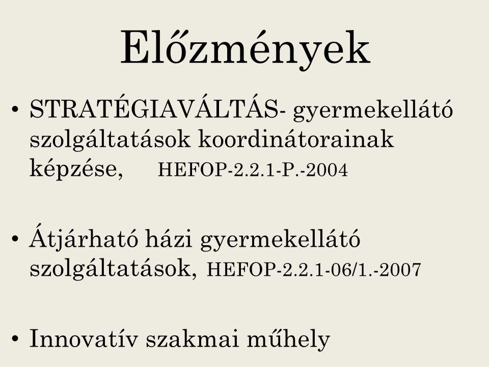 Előzmények STRATÉGIAVÁLTÁS- gyermekellátó szolgáltatások koordinátorainak képzése, HEFOP-2.2.1-P.-2004 Átjárható házi gyermekellátó szolgáltatások, HE