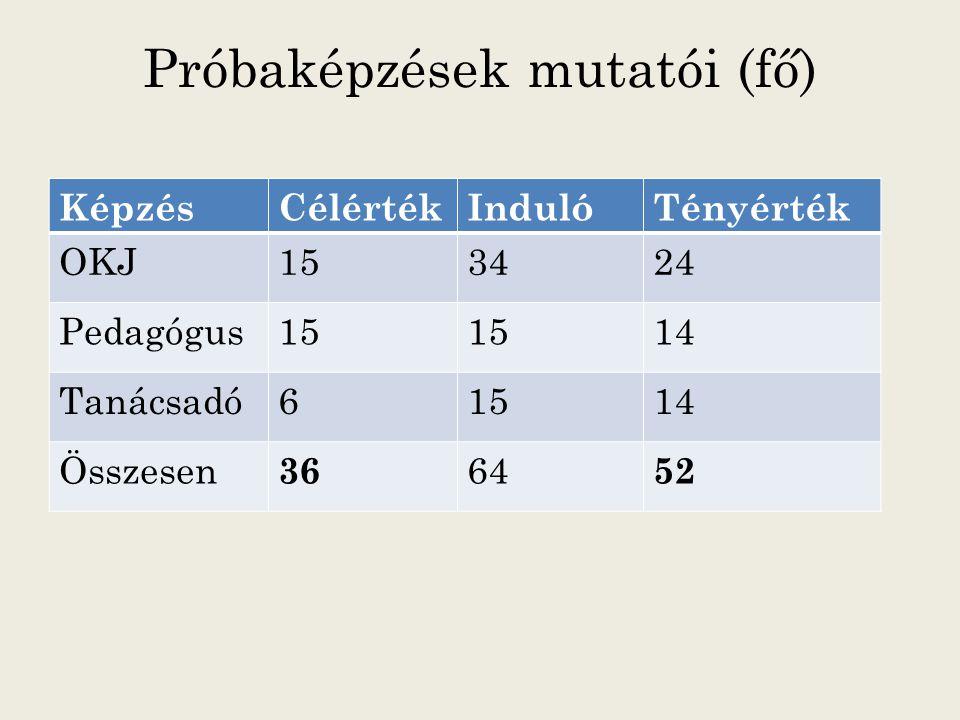 Próbaképzések mutatói (fő) KépzésCélértékIndulóTényérték OKJ153424 Pedagógus15 14 Tanácsadó61514 Összesen 36 64 52