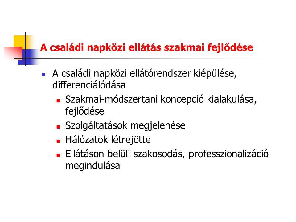 Az ellátásban dolgozók igényei Magyarországon a családi napközi ellátására vállalkozók általában hosszú távra szeretnének berendezkedni - motivációk Sok a szakmai diplomával rendelkező – érje meg a rendszerben maradniuk A nem szakképzett embernek is nyújtson perspektívát Az állandó fejlődés felveti a továbbképzési rendszer kiépítésének szükségességét
