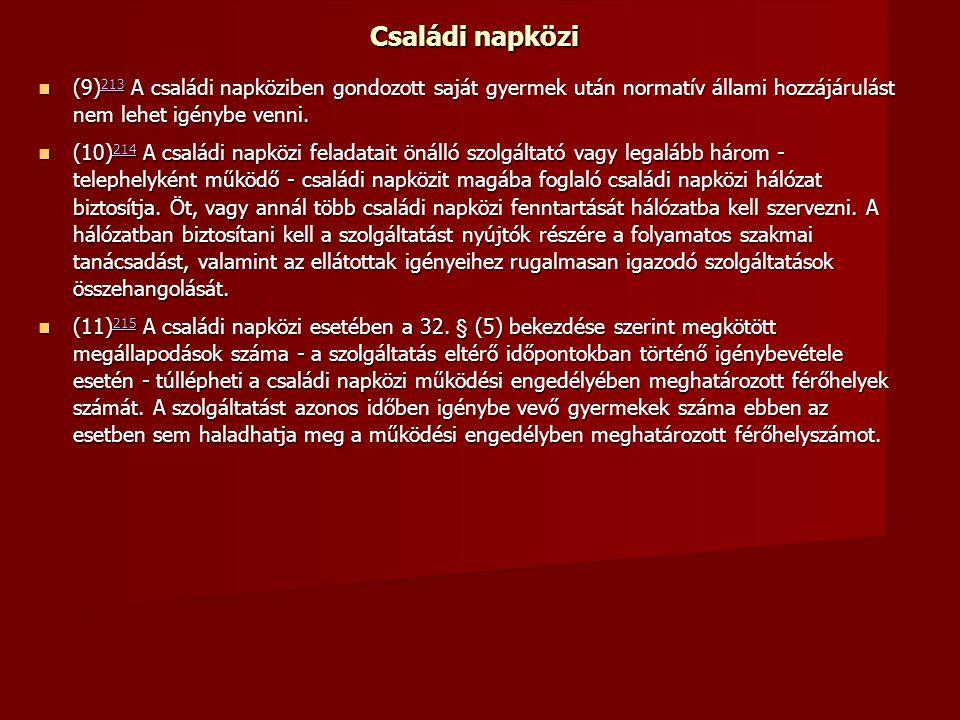 Családi napközi (9) 213 A családi napköziben gondozott saját gyermek után normatív állami hozzájárulást nem lehet igénybe venni.