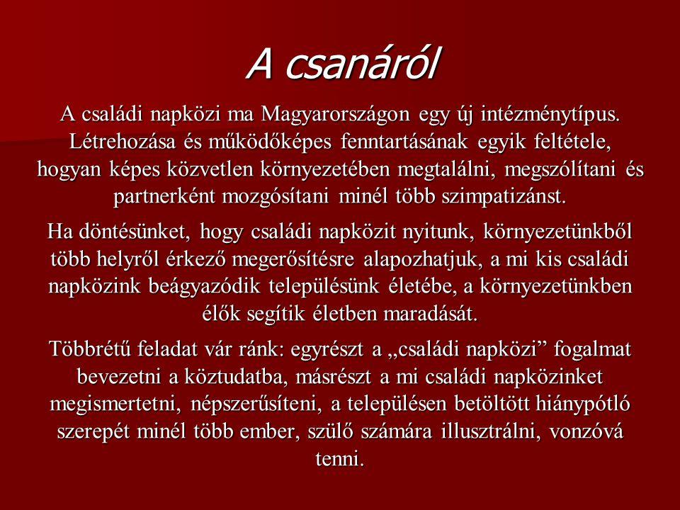 A csanáról A családi napközi ma Magyarországon egy új intézménytípus.