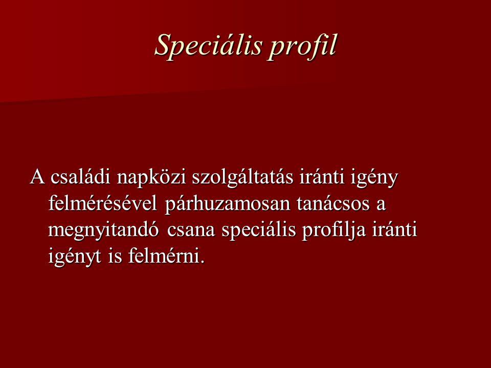 Speciális profil A családi napközi szolgáltatás iránti igény felmérésével párhuzamosan tanácsos a megnyitandó csana speciális profilja iránti igényt is felmérni.