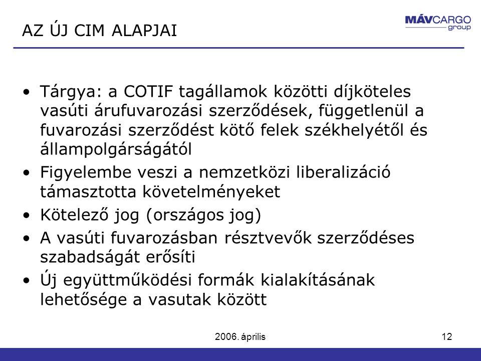 2006. április12 Tárgya: a COTIF tagállamok közötti díjköteles vasúti árufuvarozási szerződések, függetlenül a fuvarozási szerződést kötő felek székhel