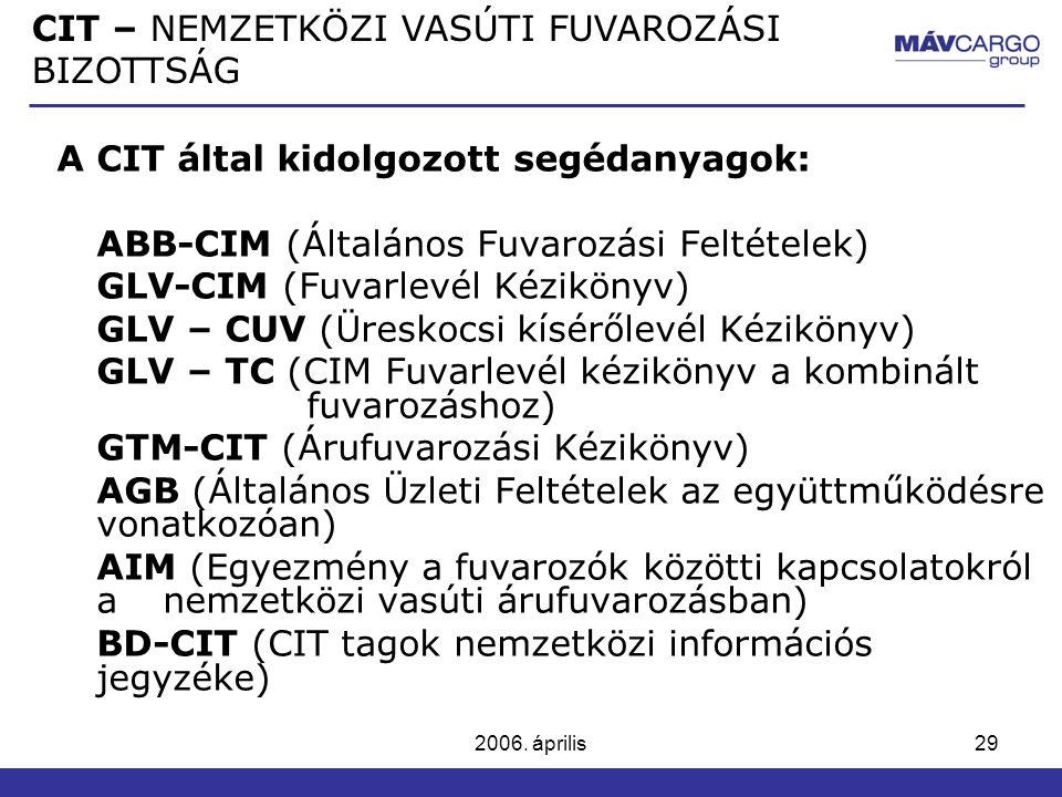 2006. április29 A CIT által kidolgozott segédanyagok: ABB-CIM (Általános Fuvarozási Feltételek) GLV-CIM (Fuvarlevél Kézikönyv) GLV – CUV (Üreskocsi kí