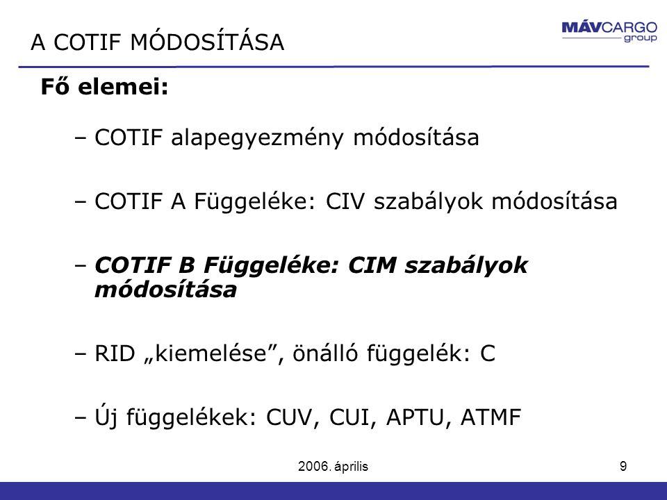 2006. április9 Fő elemei: –COTIF alapegyezmény módosítása –COTIF A Függeléke: CIV szabályok módosítása –COTIF B Függeléke: CIM szabályok módosítása –R