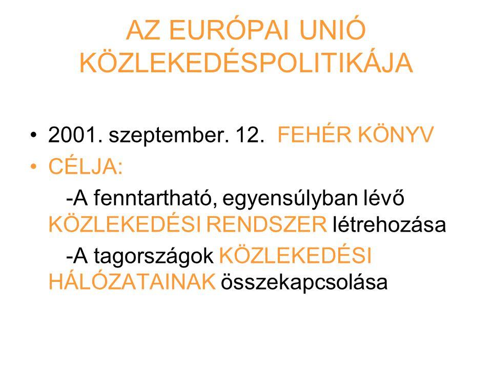 AZ EURÓPAI UNIÓ KÖZLEKEDÉSPOLITIKÁJA 2001. szeptember. 12. FEHÉR KÖNYV CÉLJA: -A fenntartható, egyensúlyban lévő KÖZLEKEDÉSI RENDSZER létrehozása -A t