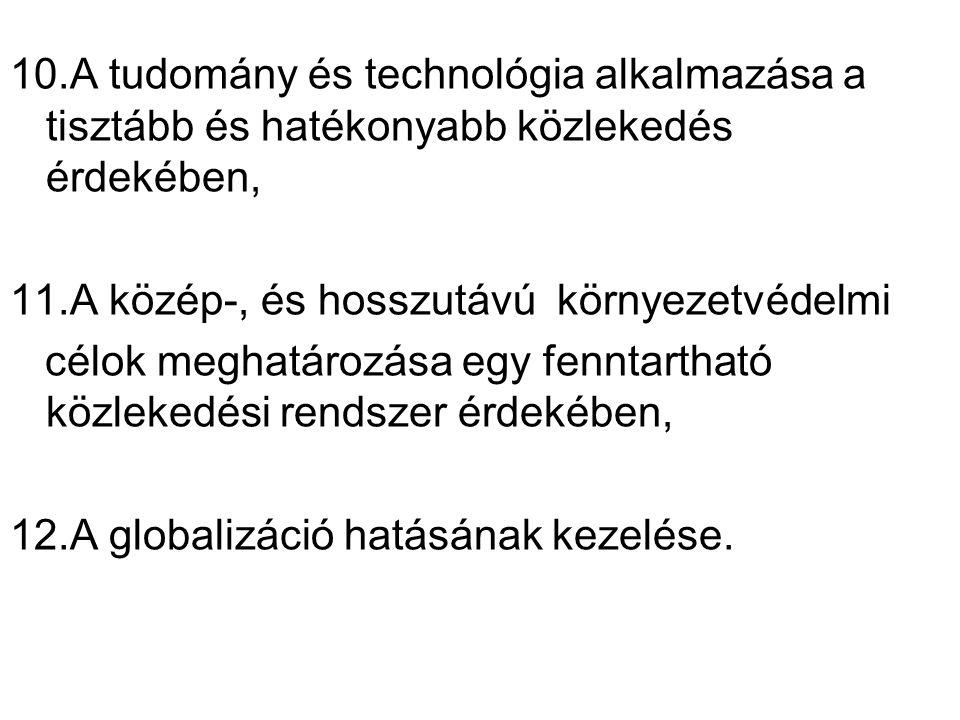 0 10.A tudomány és technológia alkalmazása a tisztább és hatékonyabb közlekedés érdekében, 11.A közép-, és hosszutávú környezetvédelmi célok meghatározása egy fenntartható közlekedési rendszer érdekében, 12.A globalizáció hatásának kezelése.