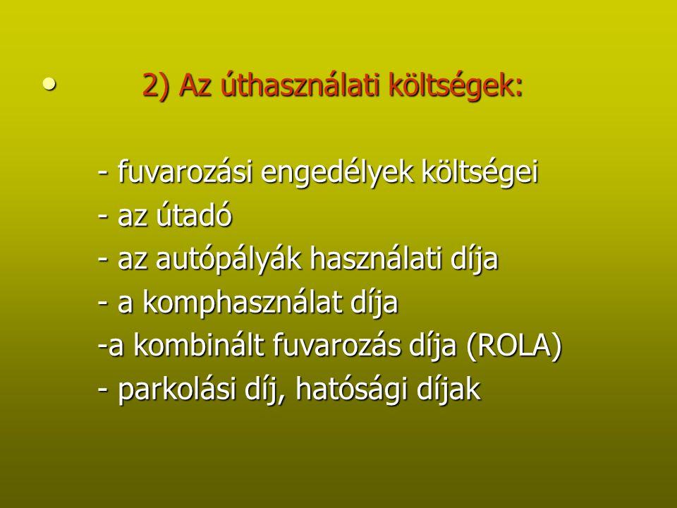 2) Az úthasználati költségek: 2) Az úthasználati költségek: - fuvarozási engedélyek költségei - fuvarozási engedélyek költségei - az útadó - az útadó