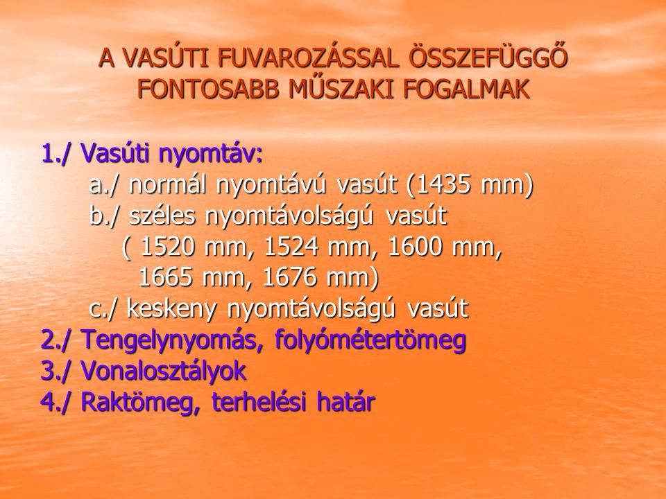A VASÚTI FUVAROZÁSSAL ÖSSZEFÜGGŐ FONTOSABB MŰSZAKI FOGALMAK 1./ Vasúti nyomtáv: a./ normál nyomtávú vasút (1435 mm) a./ normál nyomtávú vasút (1435 mm