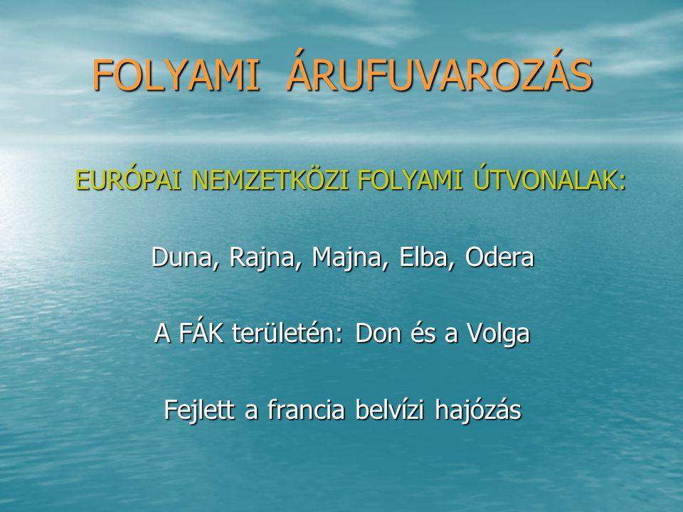 FOLYAMI ÁRUFUVAROZÁS EURÓPAI NEMZETKÖZI FOLYAMI ÚTVONALAK: EURÓPAI NEMZETKÖZI FOLYAMI ÚTVONALAK: Duna, Rajna, Majna, Elba, Odera A FÁK területén: Don