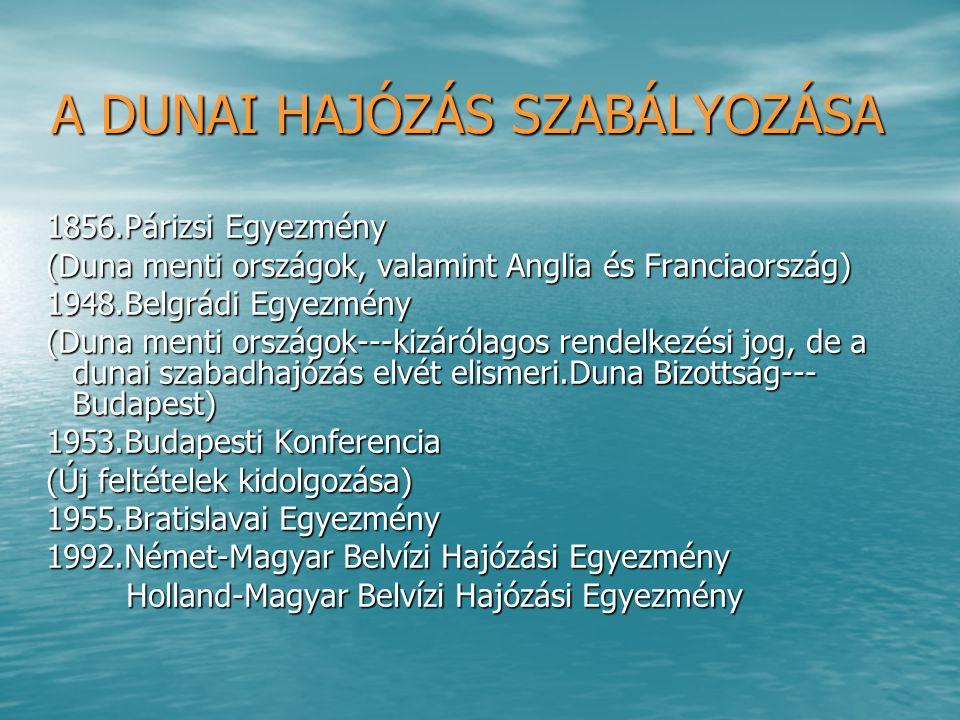 BRATISLAVAI EGYEZMÉNY A dunamenti országok megállapodtak a következők szerint: A dunamenti országok megállapodtak a következők szerint: - Dunai Árufuvarozási Feltételek (DÁF) - Dunai Árufuvarozási Feltételek (DÁF) -Egységes Díjszabási Egyezmény -Egységes Díjszabási Egyezmény -Kölcsönös Vontatási és Ügynökölési Szolgálat -Kölcsönös Vontatási és Ügynökölési Szolgálat