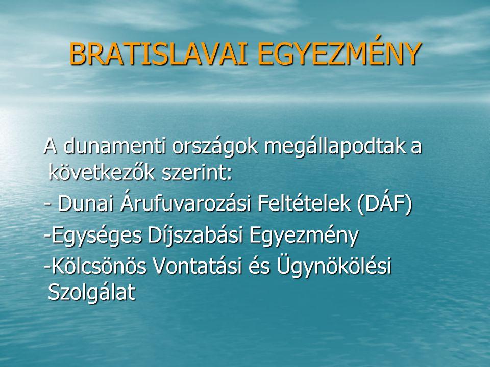 BRATISLAVAI EGYEZMÉNY A dunamenti országok megállapodtak a következők szerint: A dunamenti országok megállapodtak a következők szerint: - Dunai Árufuv