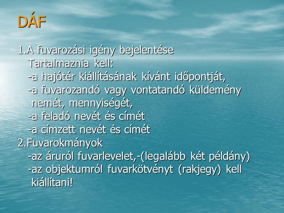 DÁF 1.A fuvarozási igény bejelentése Tartalmaznia kell: Tartalmaznia kell: -a hajótér kiállításának kívánt időpontját, -a hajótér kiállításának kívánt