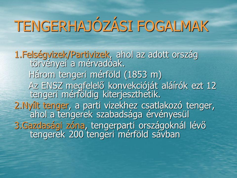 TENGERHAJÓZÁSI FOGALMAK 1.Felségvizek/Partivizek, ahol az adott ország törvényei a mérvadóak. Három tengeri mérföld (1853 m) Három tengeri mérföld (18