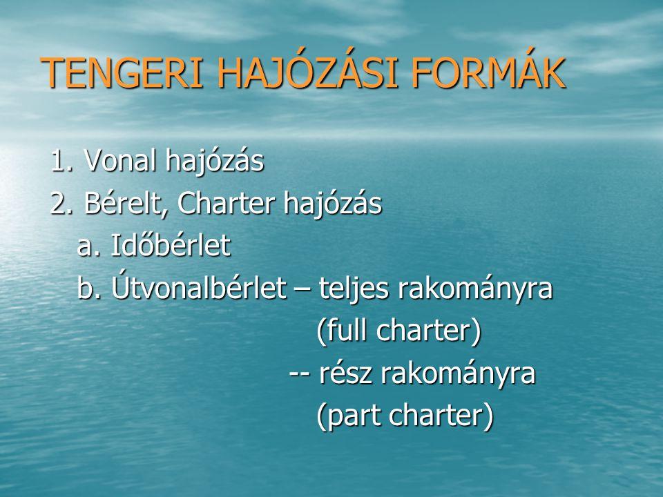 TENGERI HAJÓZÁS RÉSZTVEVŐI 1.Hajózási konferenciák 1.Hajózási konferenciák 2.Konferenciáktól független hajósok 2.Konferenciáktól független hajósok (outsider) (outsider) 3.Hajós – hajós társaság 3.Hajós – hajós társaság 4.Fuvaroztató 4.Fuvaroztató 5.Címzett 5.Címzett