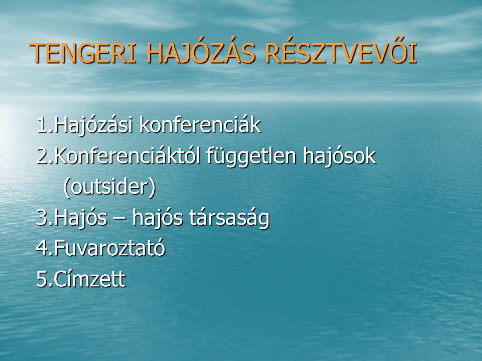TENGERI HAJÓZÁS RÉSZTVEVŐI 1.Hajózási konferenciák 1.Hajózási konferenciák 2.Konferenciáktól független hajósok 2.Konferenciáktól független hajósok (ou