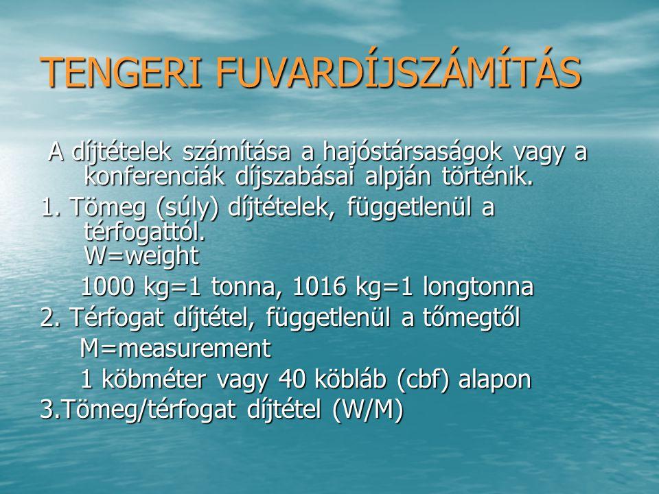VONALHAJÓZÁSI PÓTLÉKOK VONALHAJÓZÁSI PÓTLÉKOK -Nehézségi (súly) pótlék -Hosszúsági (terjedelmességi) pótlék -Jégpótlék -Zsúfoltsági pótlék -Üzemanyag pótlék (BAF) -Árfolyampótlék (CAF) -Háborús pótlék