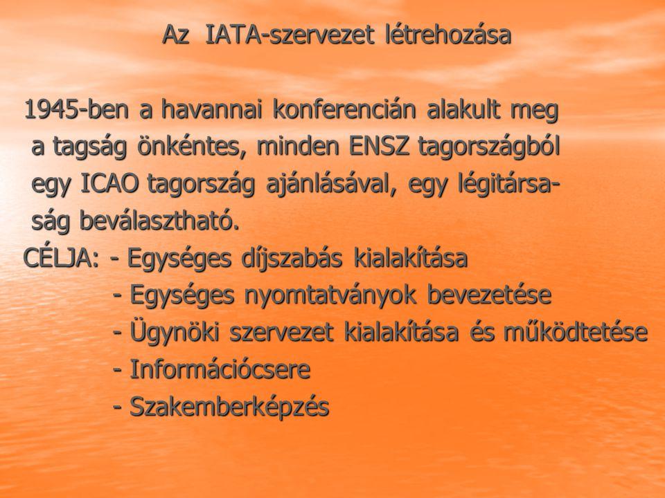 Az IATA-szervezet létrehozása Az IATA-szervezet létrehozása 1945-ben a havannai konferencián alakult meg 1945-ben a havannai konferencián alakult meg