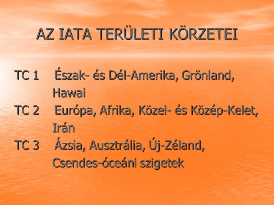 AZ IATA TERÜLETI KÖRZETEI TC 1 Észak- és Dél-Amerika, Grönland, TC 1 Észak- és Dél-Amerika, Grönland, Hawai Hawai TC 2 Európa, Afrika, Közel- és Közép