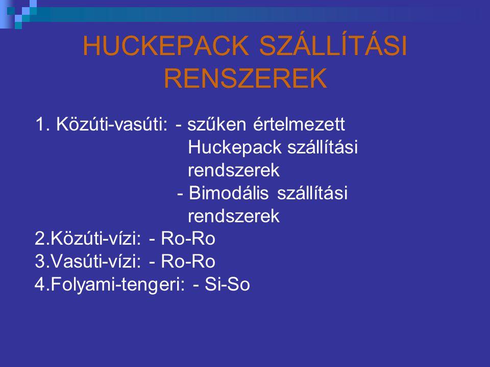HUCKEPACK SZÁLLÍTÁSI RENSZEREK 1. Közúti-vasúti: - szűken értelmezett Huckepack szállítási rendszerek - Bimodális szállítási rendszerek 2.Közúti-vízi:
