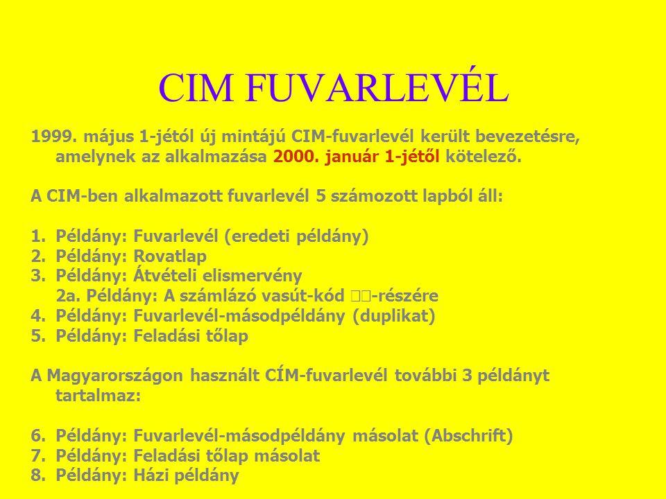 CIM FUVARLEVÉL 1999. május 1-jétól új mintájú CIM-fuvarlevél került bevezetésre, amelynek az alkalmazása 2000. január 1-jétől kötelező. A CIM-ben alka