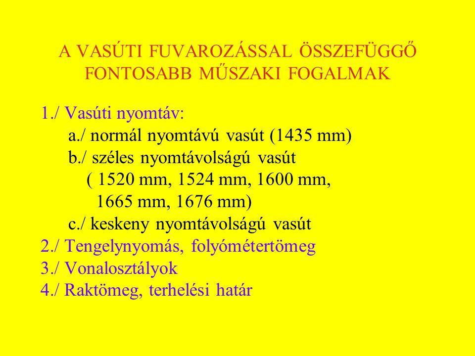 A VASÚTI FUVAROZÁSSAL ÖSSZEFÜGGŐ FONTOSABB MŰSZAKI FOGALMAK 1./ Vasúti nyomtáv: a./ normál nyomtávú vasút (1435 mm) b./ széles nyomtávolságú vasút ( 1