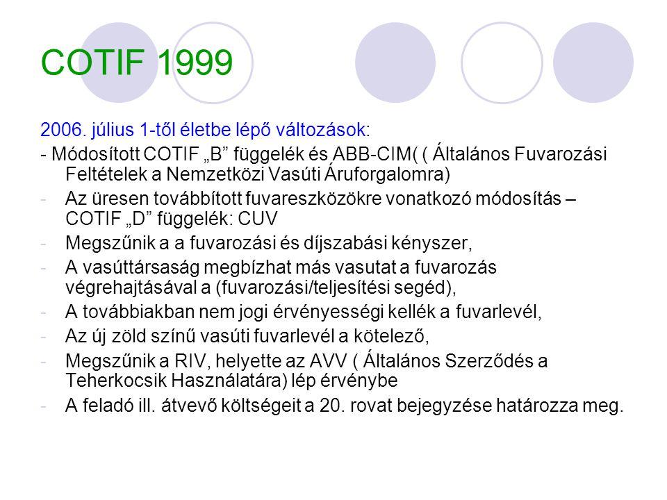 """COTIF 1999 2006. július 1-től életbe lépő változások: - Módosított COTIF """"B"""" függelék és ABB-CIM( ( Általános Fuvarozási Feltételek a Nemzetközi Vasút"""