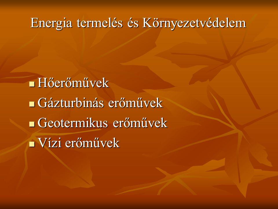 Hőerőművek Hőerőművek Gázturbinás erőművek Gázturbinás erőművek Geotermikus erőművek Geotermikus erőművek Vízi erőművek Vízi erőművek Energia termelés