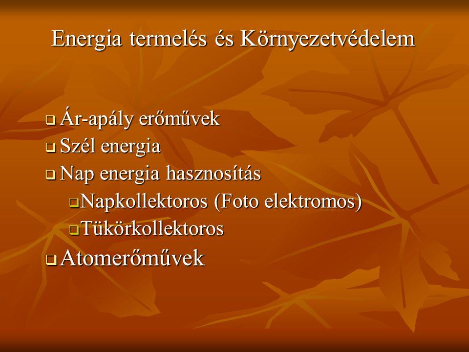  Ár-apály erőművek  Szél energia  Nap energia hasznosítás  Napkollektoros (Foto elektromos)  Tükörkollektoros  Atomerőművek Energia termelés és