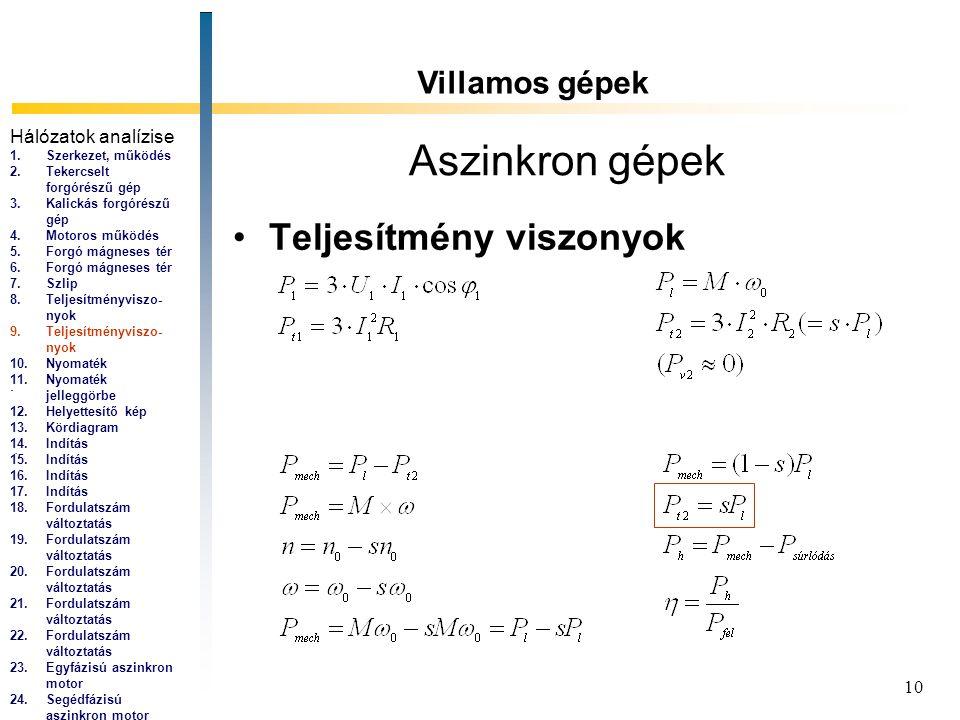 10 Aszinkron gépek Teljesítmény viszonyok Villamos gépek... Hálózatok analízise 1.Szerkezet, működés 2.Tekercselt forgórészű gép 3.Kalickás forgórészű