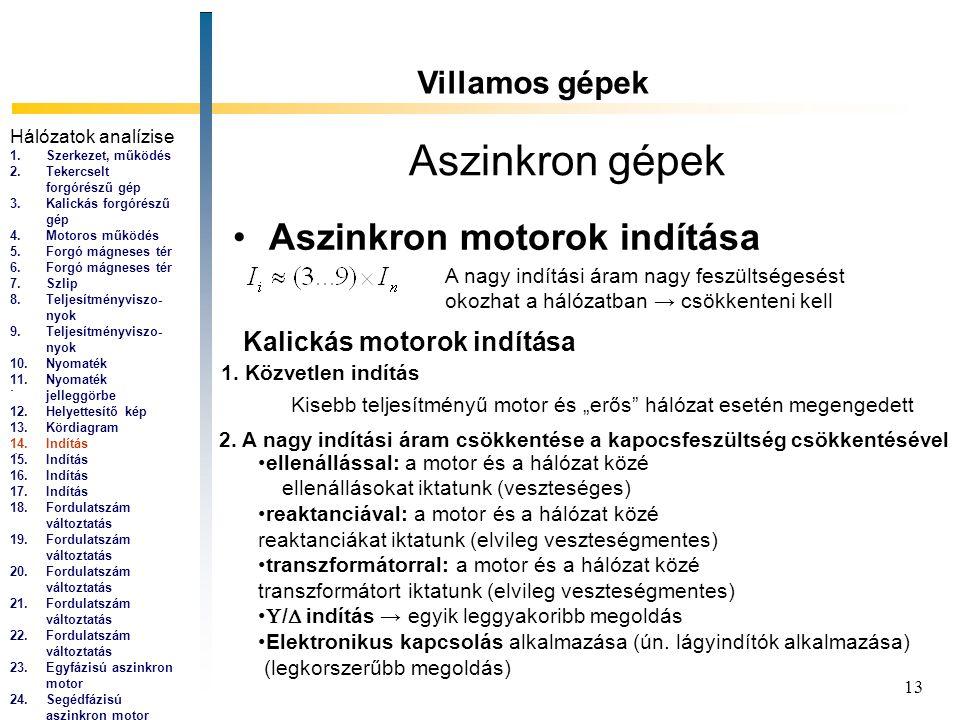 13 Aszinkron gépek Aszinkron motorok indítása Villamos gépek... A nagy indítási áram nagy feszültségesést okozhat a hálózatban → csökkenteni kell Kali