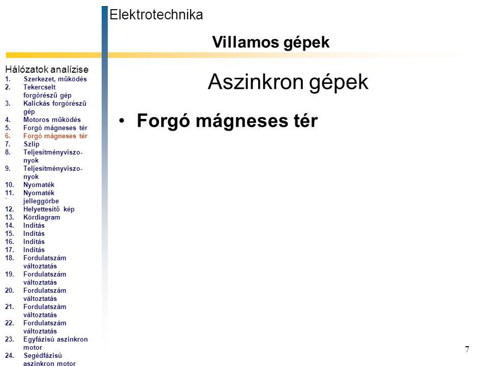 7 Aszinkron gépek Forgó mágneses tér Elektrotechnika Villamos gépek... Hálózatok analízise 1.Szerkezet, működés 2.Tekercselt forgórészű gép 3.Kalickás