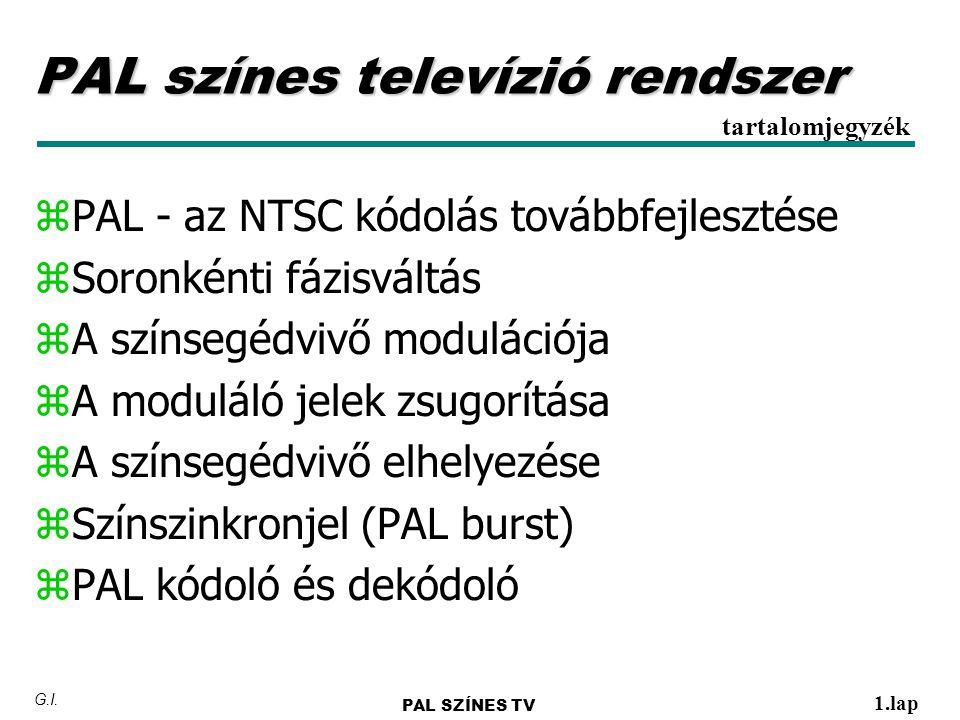 y P AL y Phase Alternating Line y Német szabadalom - 1961 y Rendszeres műsorsugárzás Nyugat-Európában 1967- től y PAL rendszerű sugárzás ma több, mint 50 országban (köztük Ausztrália, Németország, UK, Magyarország) PAL PAL SZÍNES TV 2.lap G.I.
